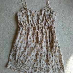 🌻Old Navy Yllw & Crm Floral Summer Dress Sz XL🌻